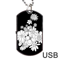 Mandala Calming Coloring Page Dog Tag Usb Flash (one Side)
