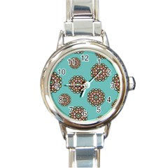 Circle Vector Background Abstract Round Italian Charm Watch