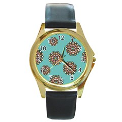 Circle Vector Background Abstract Round Gold Metal Watch