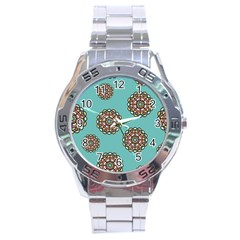 Circle Vector Background Abstract Stainless Steel Analogue Watch