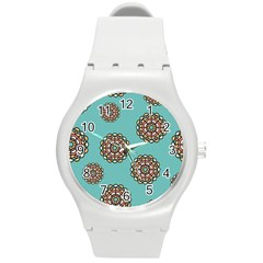 Circle Vector Background Abstract Round Plastic Sport Watch (m)