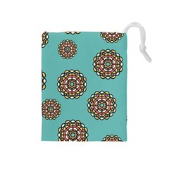 Circle Vector Background Abstract Drawstring Pouches (Medium)