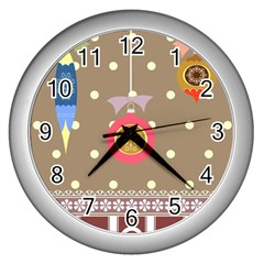 Art Background Background Vector Wall Clocks (Silver)