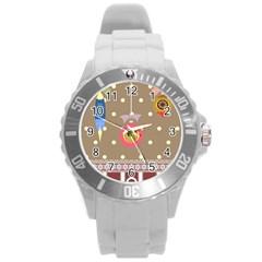 Art Background Background Vector Round Plastic Sport Watch (L)