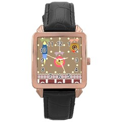 Art Background Background Vector Rose Gold Leather Watch