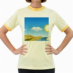 Grid Sky Course Texture Sun Women s Fitted Ringer T-Shirts