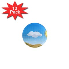 Grid Sky Course Texture Sun 1  Mini Magnet (10 pack)