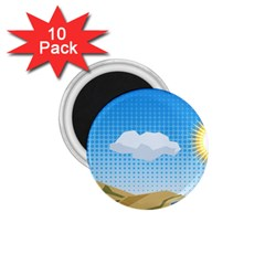 Grid Sky Course Texture Sun 1.75  Magnets (10 pack)