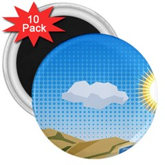 Grid Sky Course Texture Sun 3  Magnets (10 pack)