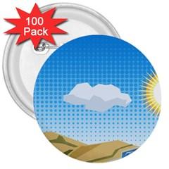 Grid Sky Course Texture Sun 3  Buttons (100 pack)