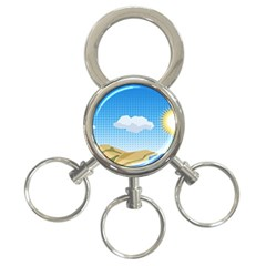 Grid Sky Course Texture Sun 3 Ring Key Chains