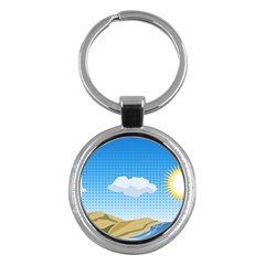 Grid Sky Course Texture Sun Key Chains (Round)