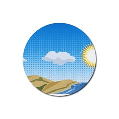 Grid Sky Course Texture Sun Rubber Round Coaster (4 Pack)