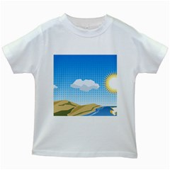 Grid Sky Course Texture Sun Kids White T-Shirts