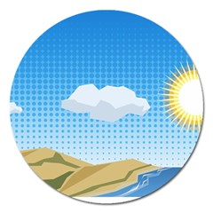 Grid Sky Course Texture Sun Magnet 5  (Round)