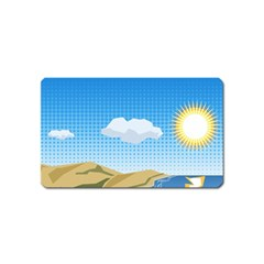 Grid Sky Course Texture Sun Magnet (Name Card)
