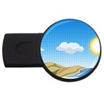 Grid Sky Course Texture Sun USB Flash Drive Round (2 GB) Front