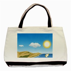 Grid Sky Course Texture Sun Basic Tote Bag