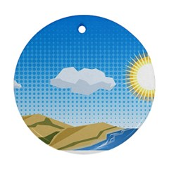 Grid Sky Course Texture Sun Round Ornament (Two Sides)