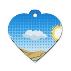 Grid Sky Course Texture Sun Dog Tag Heart (two Sides)
