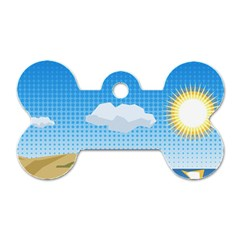 Grid Sky Course Texture Sun Dog Tag Bone (One Side)