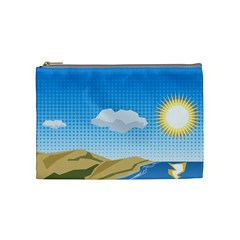 Grid Sky Course Texture Sun Cosmetic Bag (medium)