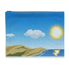 Grid Sky Course Texture Sun Cosmetic Bag (XL)