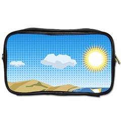 Grid Sky Course Texture Sun Toiletries Bags 2 Side