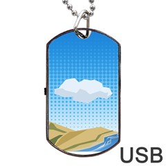 Grid Sky Course Texture Sun Dog Tag Usb Flash (two Sides)
