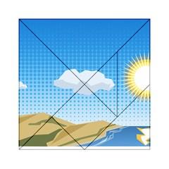 Grid Sky Course Texture Sun Acrylic Tangram Puzzle (6  X 6 )