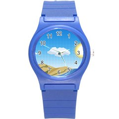 Grid Sky Course Texture Sun Round Plastic Sport Watch (S)