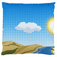 Grid Sky Course Texture Sun Large Cushion Case (one Side)
