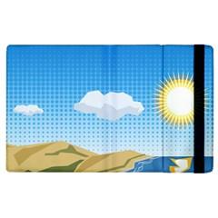 Grid Sky Course Texture Sun Apple Ipad 2 Flip Case