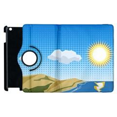 Grid Sky Course Texture Sun Apple iPad 2 Flip 360 Case