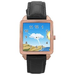 Grid Sky Course Texture Sun Rose Gold Leather Watch