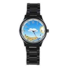 Grid Sky Course Texture Sun Stainless Steel Round Watch
