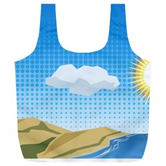 Grid Sky Course Texture Sun Full Print Recycle Bags (l)