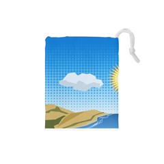 Grid Sky Course Texture Sun Drawstring Pouches (Small)