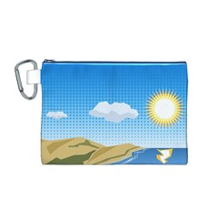 Grid Sky Course Texture Sun Canvas Cosmetic Bag (m)