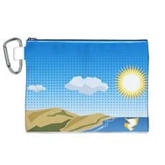 Grid Sky Course Texture Sun Canvas Cosmetic Bag (XL)