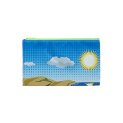 Grid Sky Course Texture Sun Cosmetic Bag (xs)