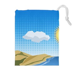 Grid Sky Course Texture Sun Drawstring Pouches (Extra Large)