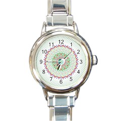 Flower Abstract Floral Round Italian Charm Watch