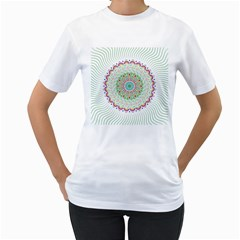 Flower Abstract Floral Women s T-Shirt (White) (Two Sided)