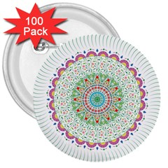 Flower Abstract Floral 3  Buttons (100 pack)
