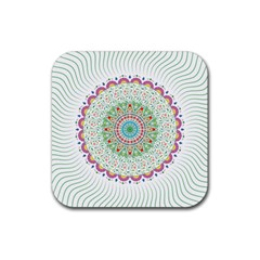 Flower Abstract Floral Rubber Square Coaster (4 pack)