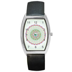 Flower Abstract Floral Barrel Style Metal Watch