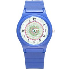Flower Abstract Floral Round Plastic Sport Watch (S)