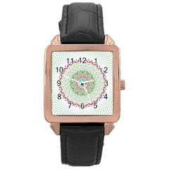 Flower Abstract Floral Rose Gold Leather Watch