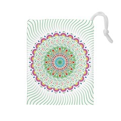 Flower Abstract Floral Drawstring Pouches (large)